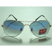 Ray Ban Aviador Rb3025 Prata Lente Azul Degrade