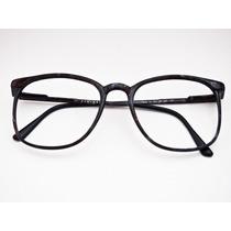 Armação Para Óculos Quadrada Fibra Marrom Retro