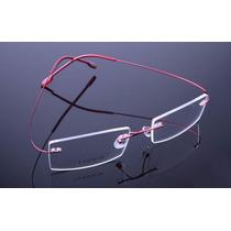 Armação Óculos Grau Sem Aro Feita De Titanium Vermelho A406