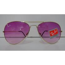 Oculos De Sol Rayban 3025 Aviador Dourado Lente Lente Lilaz