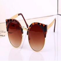 Óculos Dourado Armação Estilo Gatinho Tartaruga Animal Print