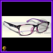 Óculos De Grau, Armação, Wayfarer Preto E Lilás Ref: Rb6232