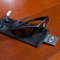 Óculos De Sol Oakley Straight Preto Lentes Laranjas Original