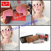 Ray Ban Aviador Rosê Espelhado Pink 3025 26 Feminino Origina