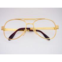 Armação Para Óculos Metal Dourada Estilo Aviador