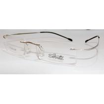 Armação Oculos Grau Flexivel Silhouette Titanium S Aro Prata