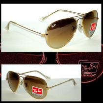 Óculos De Sol Aviador 3025 Dourado Lentes Marrom Degradê