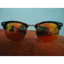 Óculos Clubmaster 3016 Tartaruga Lente Vermelho Espelhado