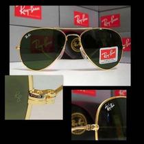 Óculos Aviador 3024 Dourado Lentes Verdes