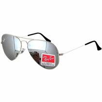 Oculos Rb Aviador Espelhado Prata 3025/3026 Lente De Cristal