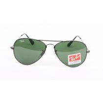 Óculos Aviador 3024 Grafite Lentes Verdes