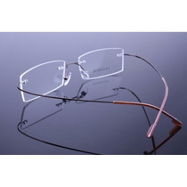 Armação Cor Café Oculos De Grau Metal Titanium Sem Aro - 576