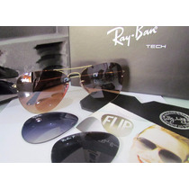 Ray Ban 3 Lentes Aviador Flip Out Tech 3460 Polarizado
