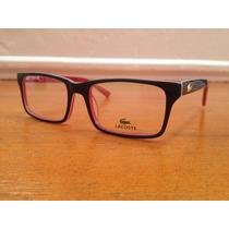 Armação De Óculos Lacoste Acetato Azul C/ Vermelho