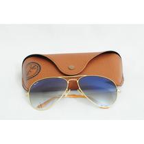 Óculos Ray Ban Aviador Rb3025 - Dourado/lentes Azul Degradê