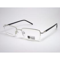 Armação De Óculos Masculino Prata E Preta Mh 8124 C4 Mj