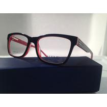Armação De Óculos Vogue Acetato Preto Com Vermelho