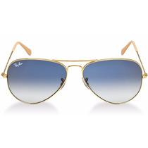 Oculos De Sol Aviador Rb3026 Lentes Azul Degrade