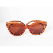 Oculos De Sol Gatinho Madeira Clara ( Estilo Shwood)