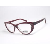 Armação Óculos Grau Gatinho Vermelho Strass 8008 C2-1 Mj