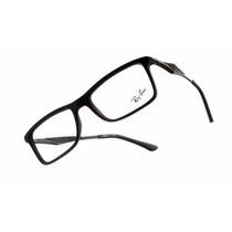 Armação Para Óculos Grau Ray-ban Rb7023 Preto Fosco Alumínio