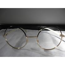 Armação/óculos Redondo 50 Mm Preto Sem Lentes Para Grau