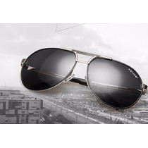 Óculos De Sol Aviador Polarizado Masculino 100%uva Uvb Prata