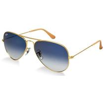 Óculos Ray-ban Rb3025 Aviador Dourado L/azuis Degradê Leilão