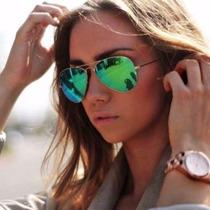 Óculos Ray Ban Aviador Verde Espelhado Masculino Feminino