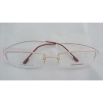 Armação P/ Óculos De Grau Meio Aro Em Titânio Titanium Doura