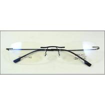 Armação Preta Oculos De Grau Titanium Dobradiça Sem Aro 437
