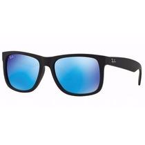 Óculos Ray Ban Rb4165 Justin Wayfarer Preto Fosco Lente Azul