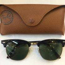 Óculos De Sol Rayban Clubmaster Preto Lentes Verde Original