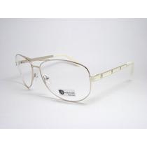 Armação De Óculos Feminino Aviador Dourado Claro 141101 Mj