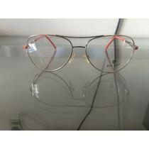 Óculos Bulget Aramado Em Dourado Com Laranja Rf1338