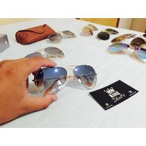 Oculos Unissex | Ray-ban Aviador Dourado - Azul Degradê