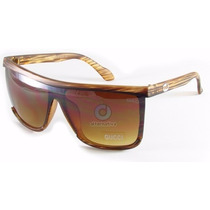 Óculos De Sol Quadrado Marrom Listrado   Masculino