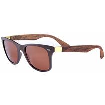 Óculos De Sol Bamboo Madeira Retro Vintage Dourado Acetinado