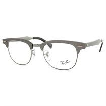 Óculos De Grau Ray Ban Clubmaster Retrô Unissex Prateado