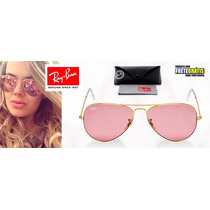 Óculos Feminino Rayban Aviador Rosa Ray Ban 100% Original