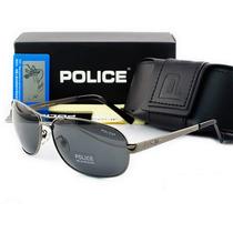 Óculos De Sol Polarizado Police 100% Uva Uvb Masculino Cinza