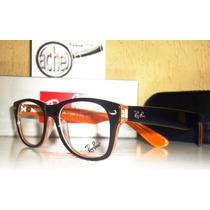 Armação Oculos Grau Rb5184 Wayfarer Preto E Laranja Acetato