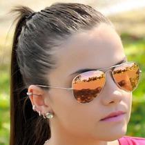 Óculos Feminino Rayban Aviador Rosa Espelhado 100% Original