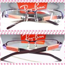 Armação Óculos De Grau Rb6668 Feminino Lilas C/ Rosa