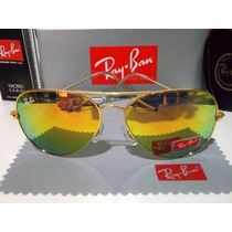 Óculos De Sol 3025 Aviador Dourado Lente Gold 24k