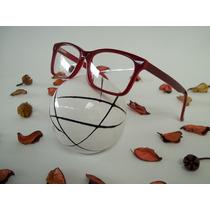 Armação Feminina Óculos P/ Grau Cor Vermelha Modelo Quadrado