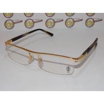 Armação Oculos Grau Cartier Dourada Meio Aro Acetato 8100816