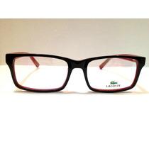 Armação De Óculos Lacoste Acetato Preto C/ Vermelho
