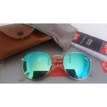 Óculos De Sol Redondo Round Feminino Azul Espelhado Retrô