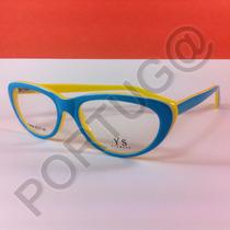 Armação Azul Com Amarela Gatinha Feminina Óculos Grau Ótica